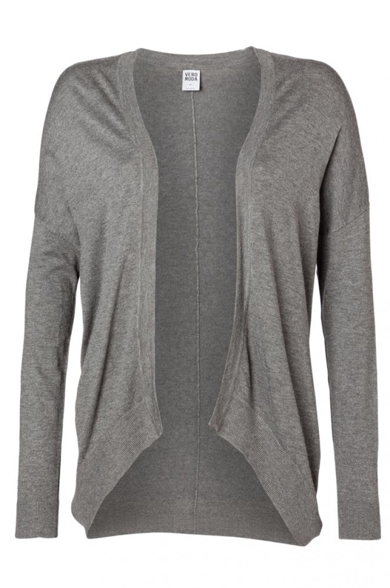VERO MODA DANIA OVERSIZE CARDIGAN - Strickjacke - Medium Grey Melange