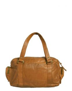 Pieces Royal - Leder Handtasche in Cognac - Hinten