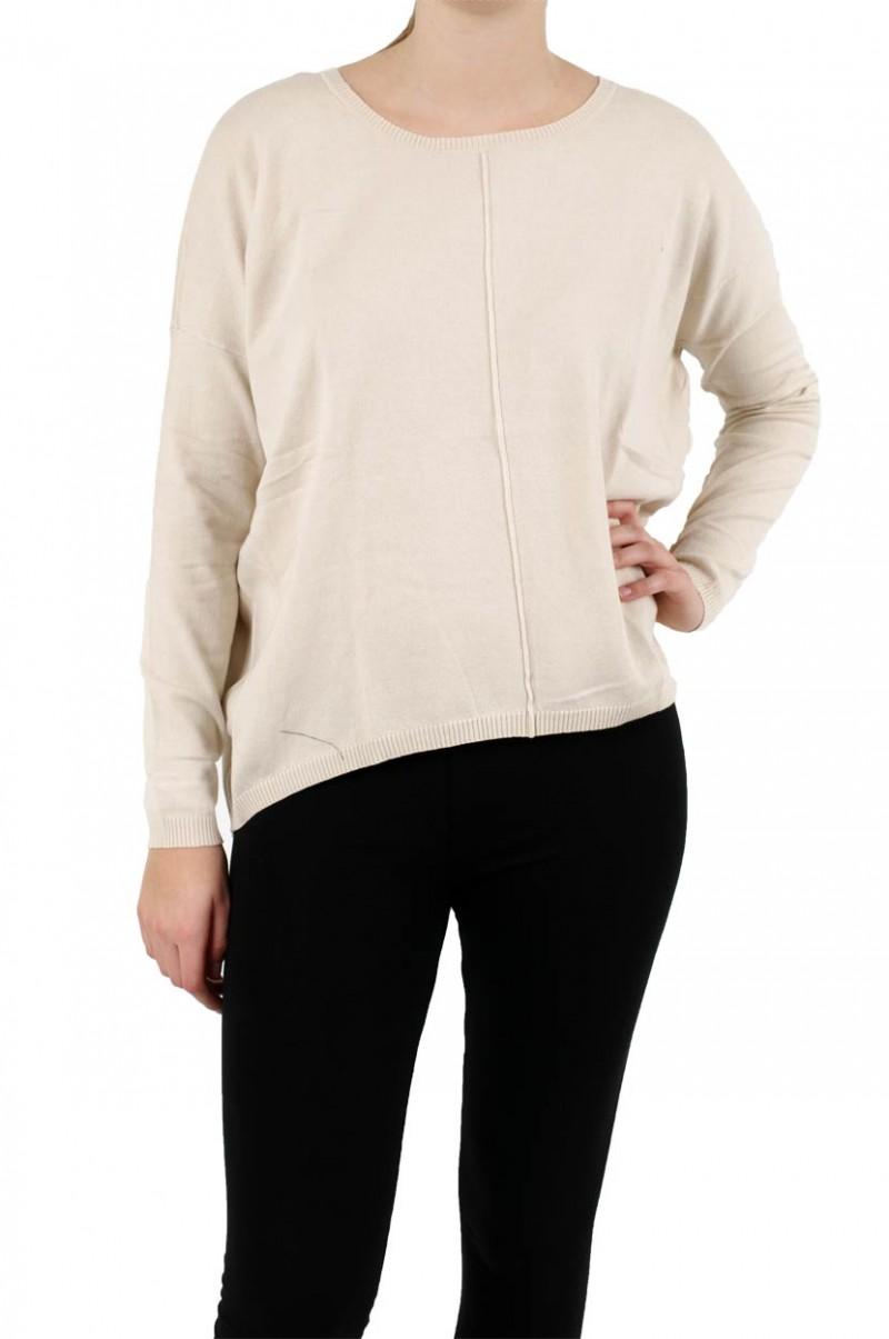 Vero Moda Pullover - Macro Zipper Blouse - Oatmeal