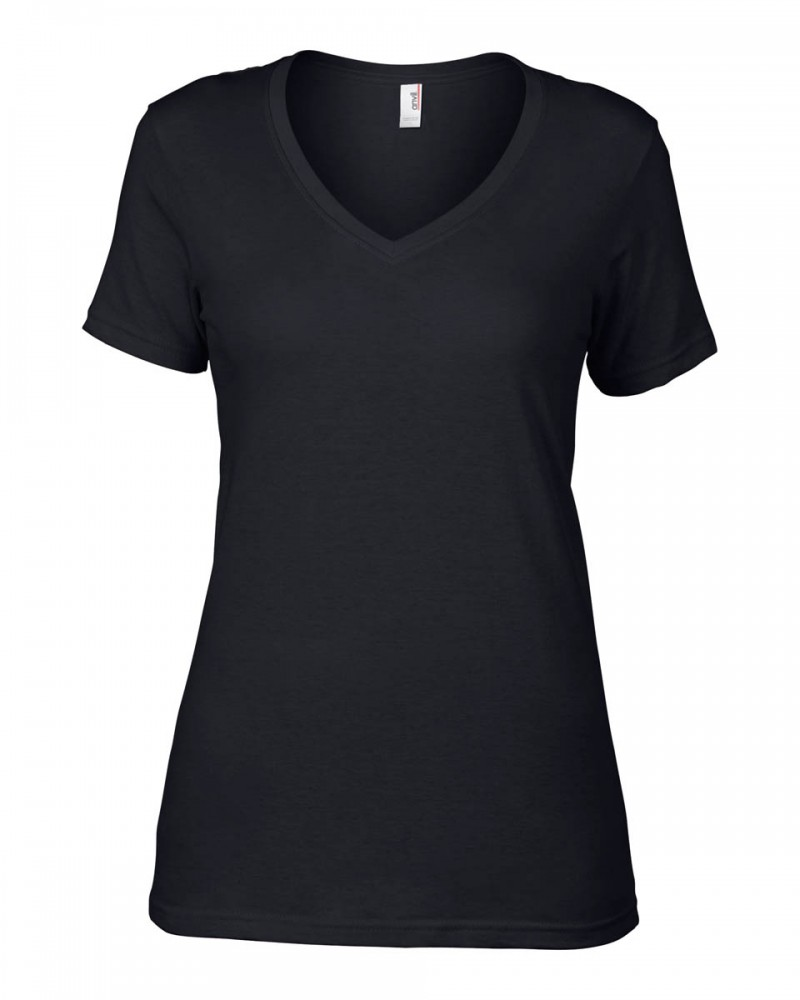 Anvil T-Shirts - Sheer V-Ausschnitt  - Black