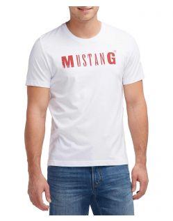 Mustang Tee - T-Shirt mit klassischem Logo in Weiß