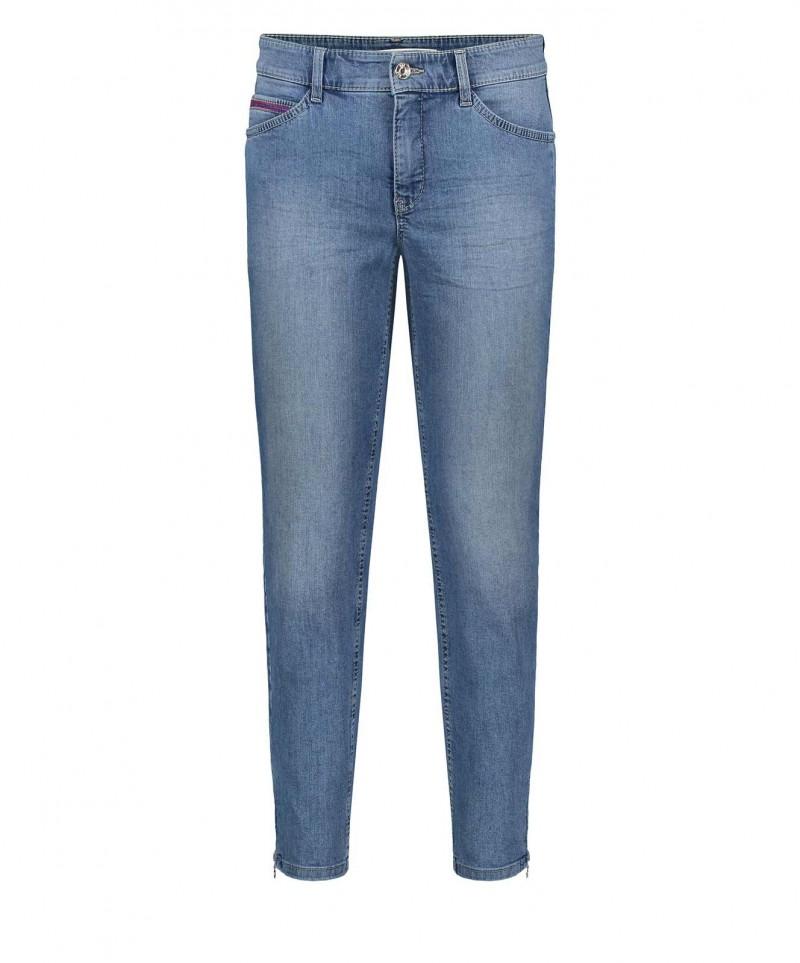 MAC Melanie Zip - Straight Leg Jeans - Light Blue Wash