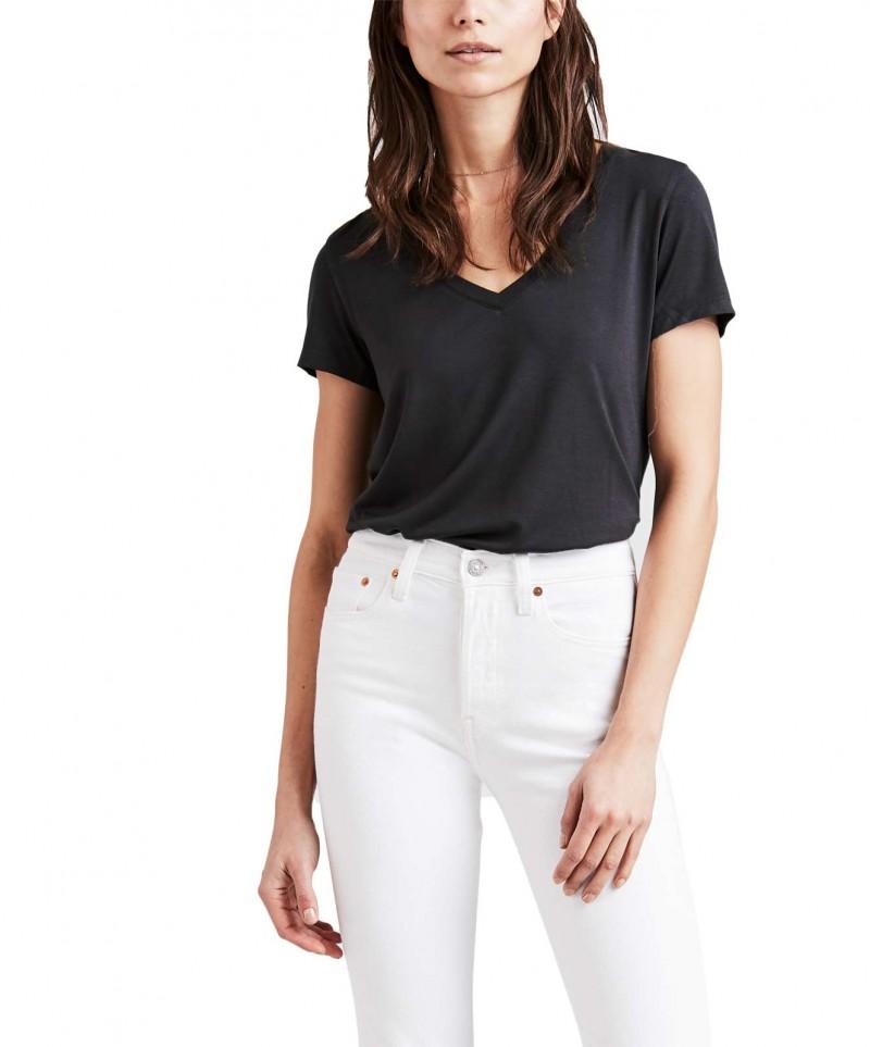 Levis Essential - schwarzes T-Shirt mit weitem V-Ausschnitt für 27 ... 27fb7bddbf
