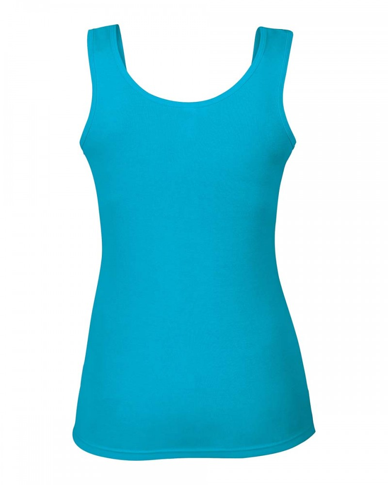 Anvil Tank Top - Baby Ripp Baumwolle - Caribbean Blue
