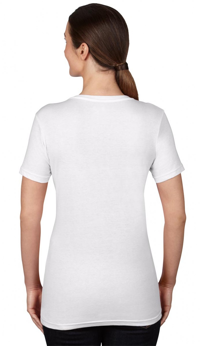 Anvil T-Shirts - Sheer V-Ausschnitt  - White