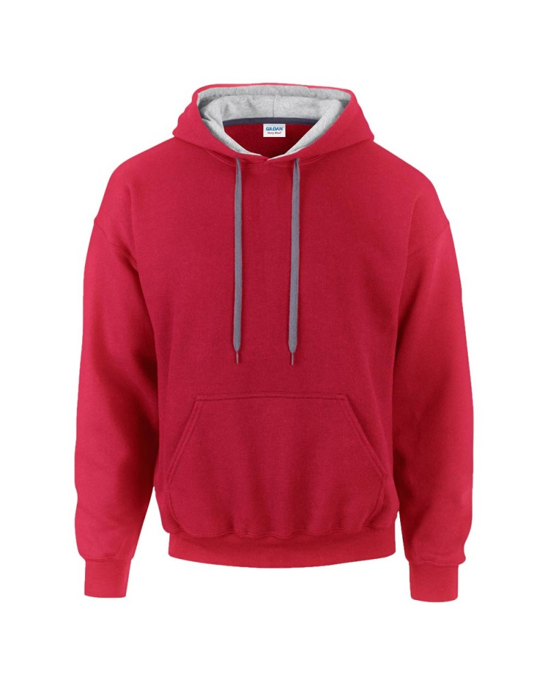 Gildan Sweatshirt - Kontrastkapuze - Red Grey v
