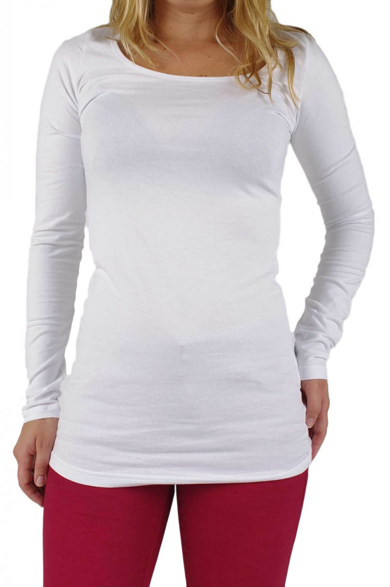 Vero Moda Shirt - U-NECK Long - weiß