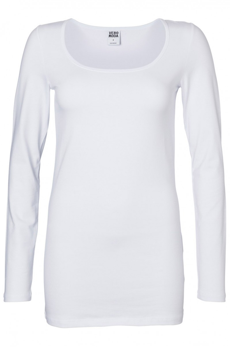 Vero Moda Shirt - U-NECK Long - weiß