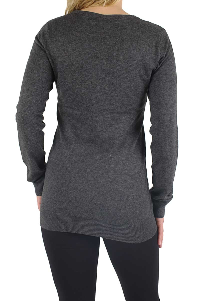 Vero Moda Glory long v-neck Pullover dark grey mel
