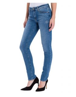 Cross Anya - mittelblaue Slim-Fit-Jeans mit modischen High Waist