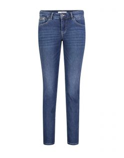 Mac Carrie Pipe - blaue Slim Fit Jeans im Used Look