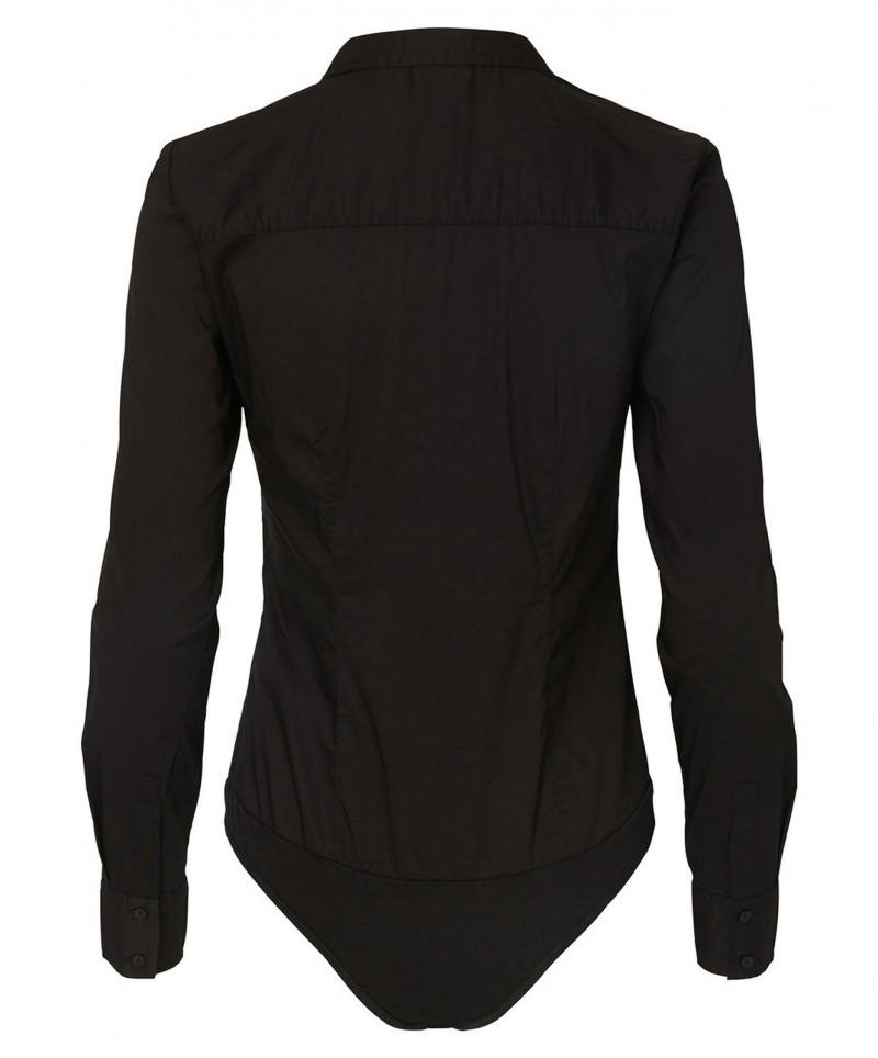 Vero Moda Lady - Schwarze Bodybluse mit Kragen und Knopfleiste
