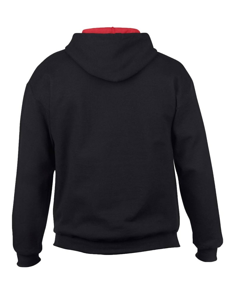 Gildan Sweatshirt - Kontrastkapuze - Black Red