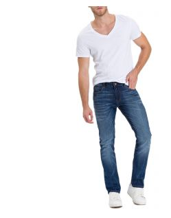 Cross Johnny - Slim Fit Jeans mit geradem Bein in mittelblau