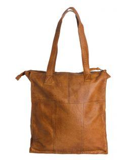 Pieces Cabby - Shopper Tasche aus Leder in hellbraun - Hinten