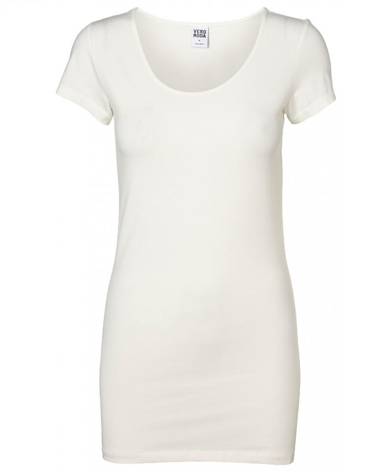 VERO MODA T-Shirt - Soft Long U-NECK - Weiss