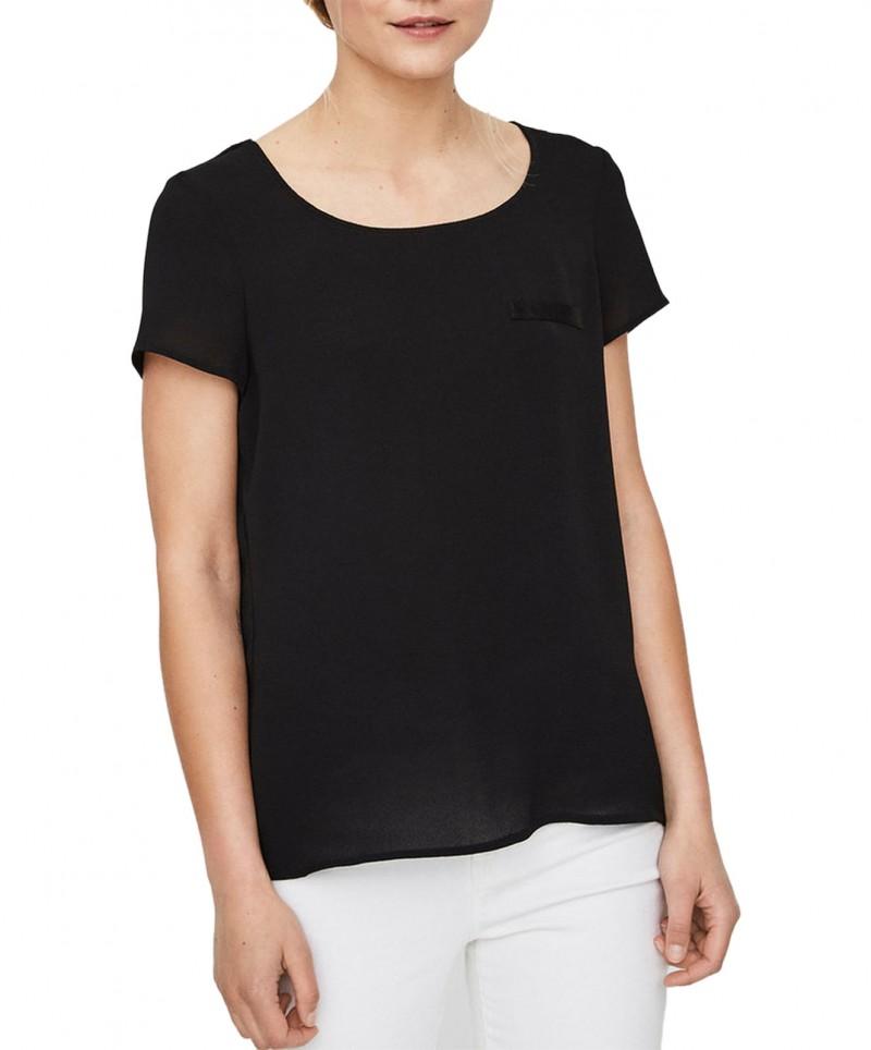 Vero Moda Sasha - Schwarzes T-Shirt mit kurzen Ärmeln