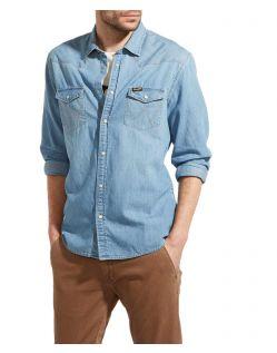 Wrangler Jeans - hellblaues Westernhemd mit schlanker Form