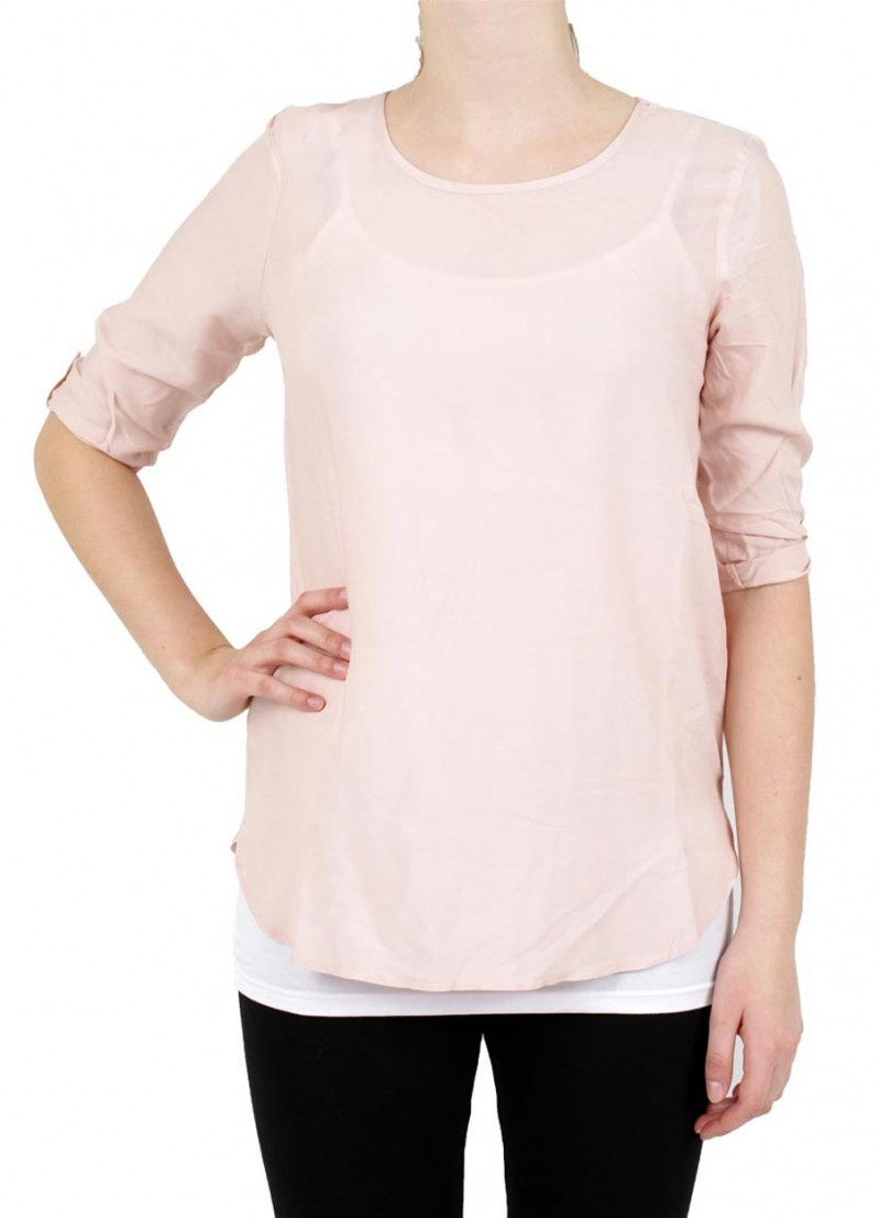 Vero Moda BOCA 3/4 Bluse - Fold Up - Peach Whip