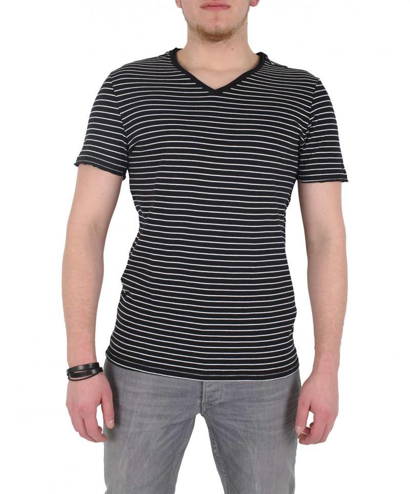GARCIA MARCO - V-Neck T-Shirt - Schwarz/Gestreift - Vorne
