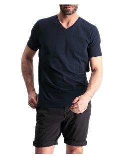Garcia Jeans Remco - dunkelblaues T-Shirt mit V-Ausschnitt