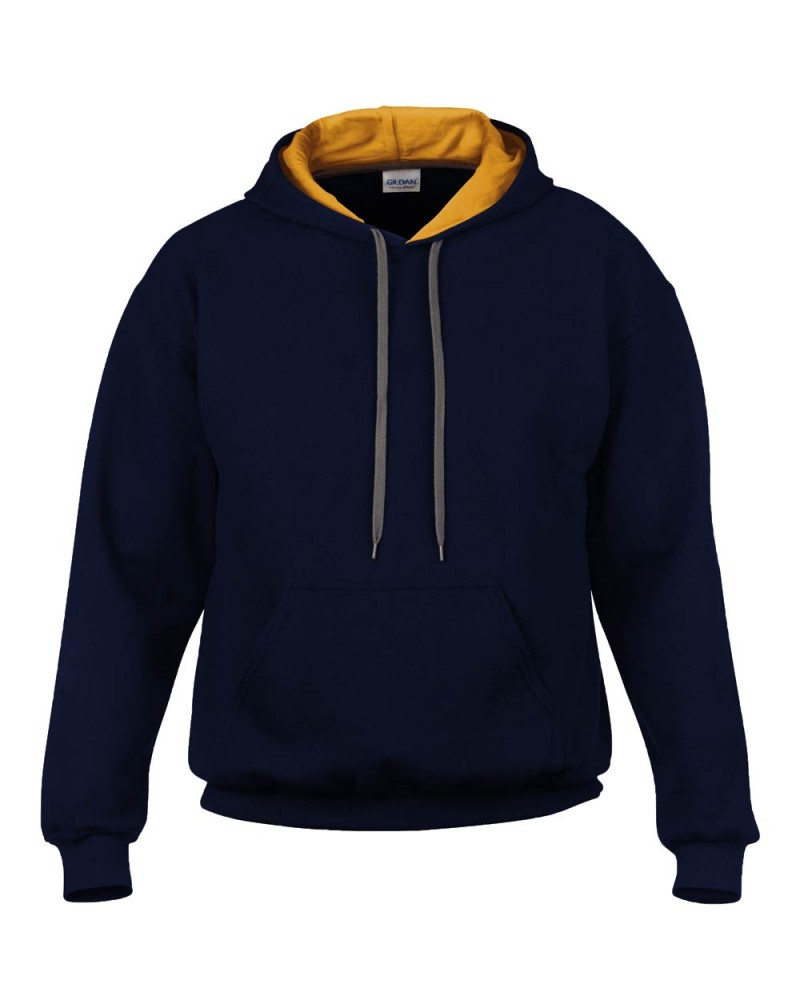 Gildan Sweatshirt - Kontrastkapuze - Navy Gold v