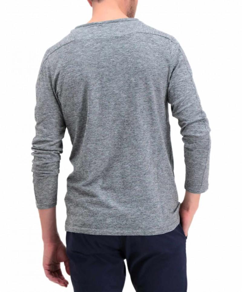 Garcia Paolo - hellgraues Langarmshirt mit V-Ausschnitt