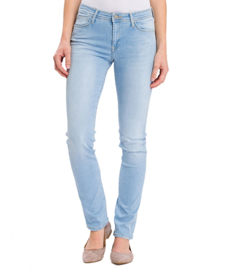 Cross Anya - Slim-Fit-Jeans mit hoher Taille in hellblau - Seite