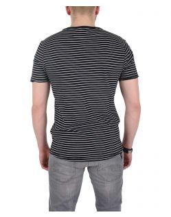 GARCIA MARCO - V-Neck T-Shirt - Schwarz/Gestreift - Hinten
