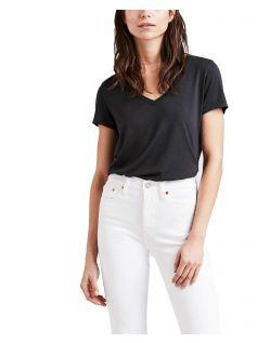 Levis Essential - schwarzes T-Shirt mit weitem V-Ausschnitt