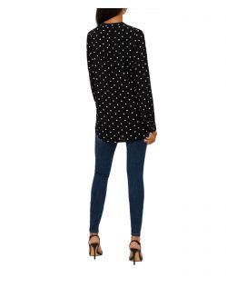 Vero Moda Soffi - schwarzes Blusenshirt mit Punktemuster - Hinten