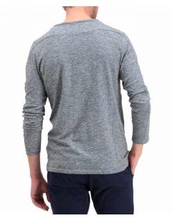 Garcia Paolo - hellgraues Langarmshirt mit V-Ausschnitt - Hinten