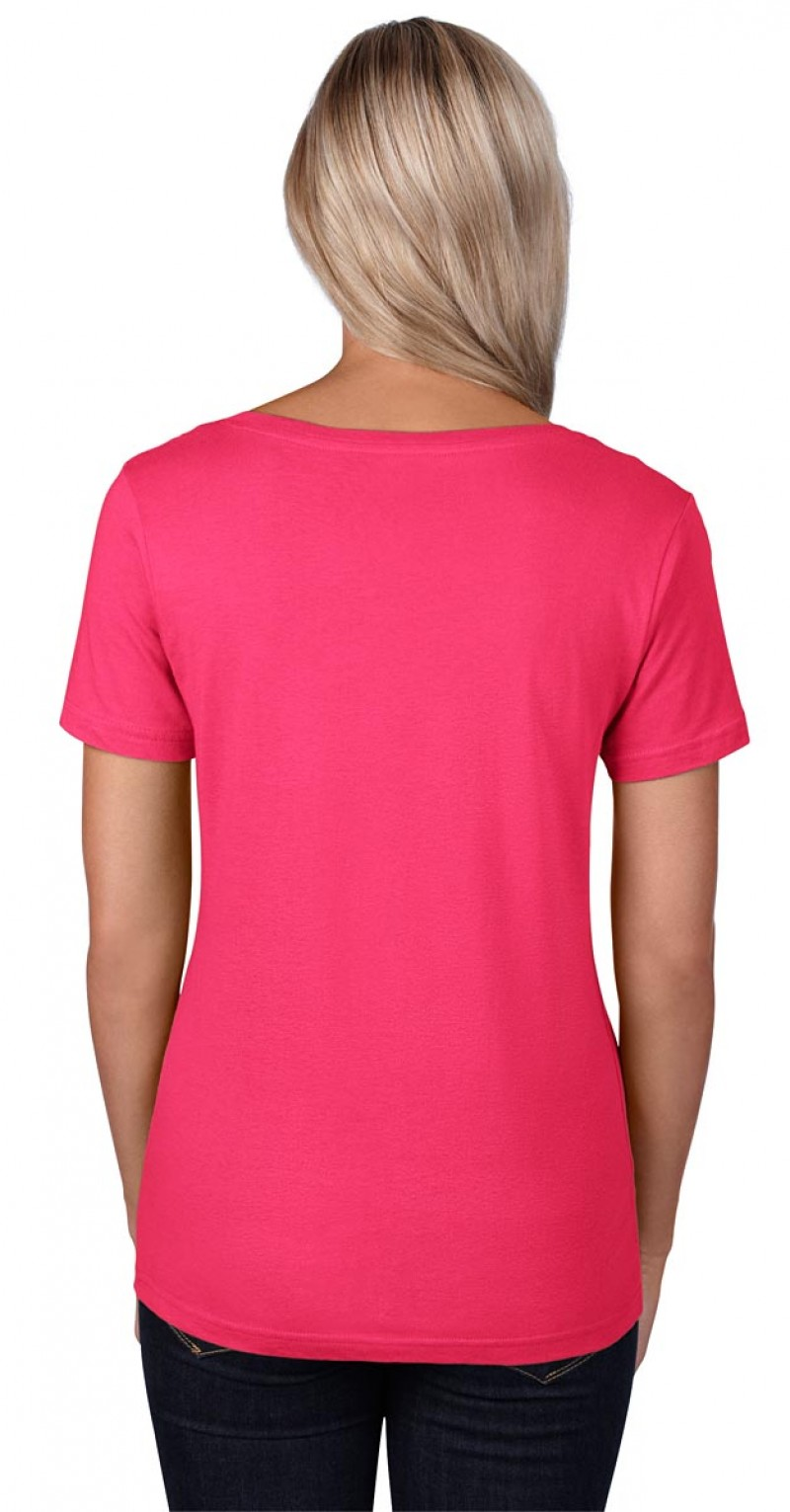 Anvil T-Shirt - Sheer Scoop - Hot Pink