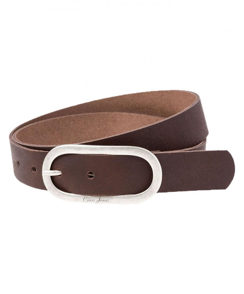 Cross Jeans Gürtel - Rindsleder - Braun