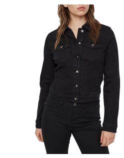 Vero Moda Soya - kurze Jeansjacke aus Stretchdenim in Schwarz