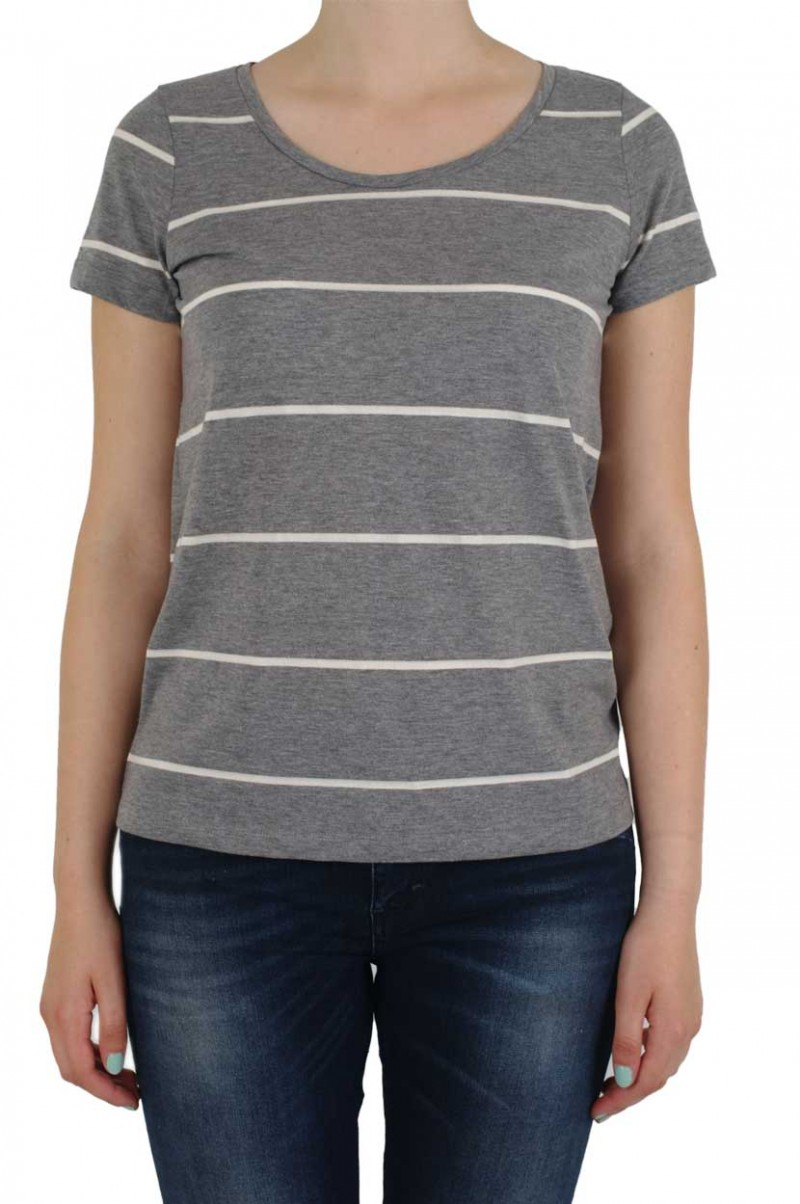 Vero Moda T-Shirt - Molly Striped - Medium Grey White