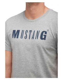 Logo T-Shirt Mustang Herren in Grau - Schriftzug